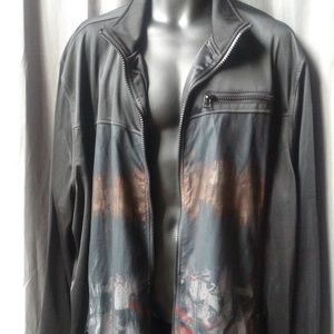 Sean John Jackets & Coats - Sean John Men's Mesh over Art Image Poly zip up